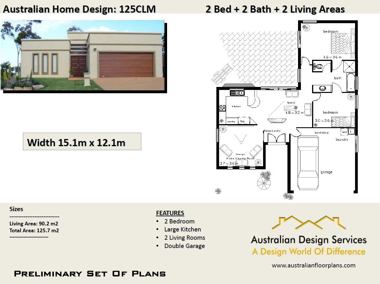 125 CLM2 Bedroom + 2 Car125.7 m2 Preliminary House