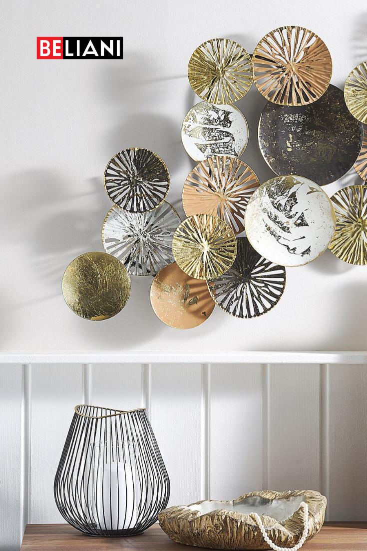 wanddeko kreise aus metall dekoration wanddekoration kupfer farbe kuhkopf deko wanddekorationen wandobjekt holz ornament