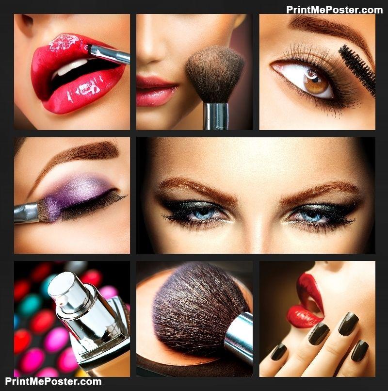 Beauty Salon Makeover: Poster Of Makeup Collage. Professional Make-up Details
