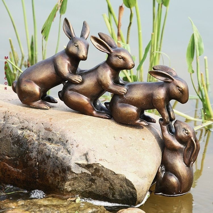 Bunny Friends Helping Hand Rabbits Garden Sculpture Statue Bronze Finish  Metal