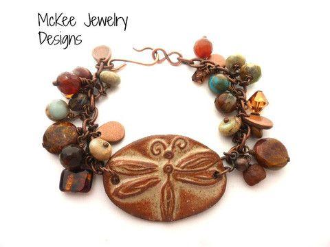 dragonfly bracelet. Browns in ceramic, crystal, glass, stone.