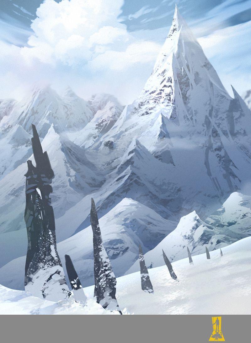 Snowy Mountains Art Inspiration Conceptart Videogameart Environment Landscape Concept Art Environment Concept Art Mountain Illustration