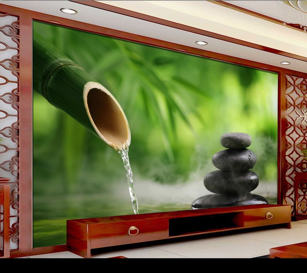 3d Tv Mural Background Yoga Spa Salon Bamboo Stone Hall Wallpaper Wall Rolls Bedroom Wallpaper Murals Hall Wallpaper Wall Painting Living Room
