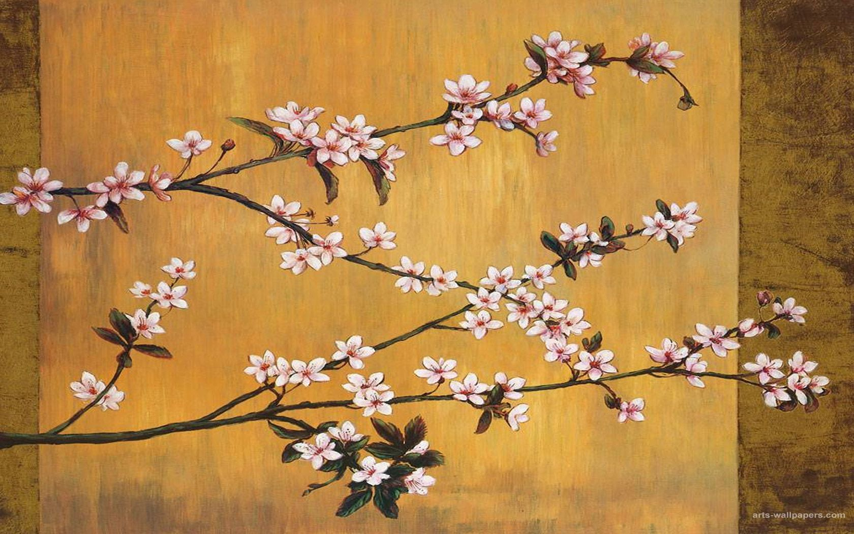 Japanese painting cherry blossoms wallpapers paintings for Japanese wallpaper home