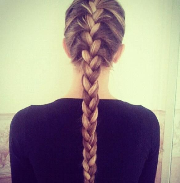 French braid straight down with highlights