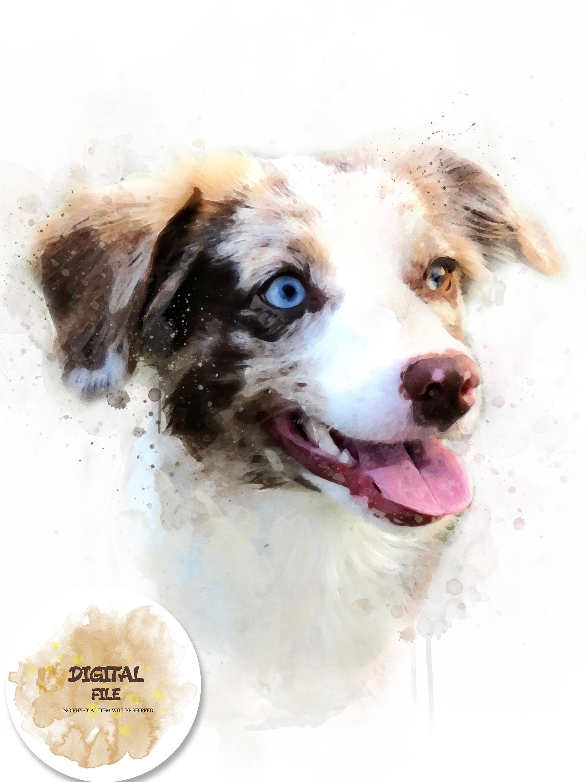 Custom Dog Portrait Shepard Portrait Digital Dog Watercolor Dog