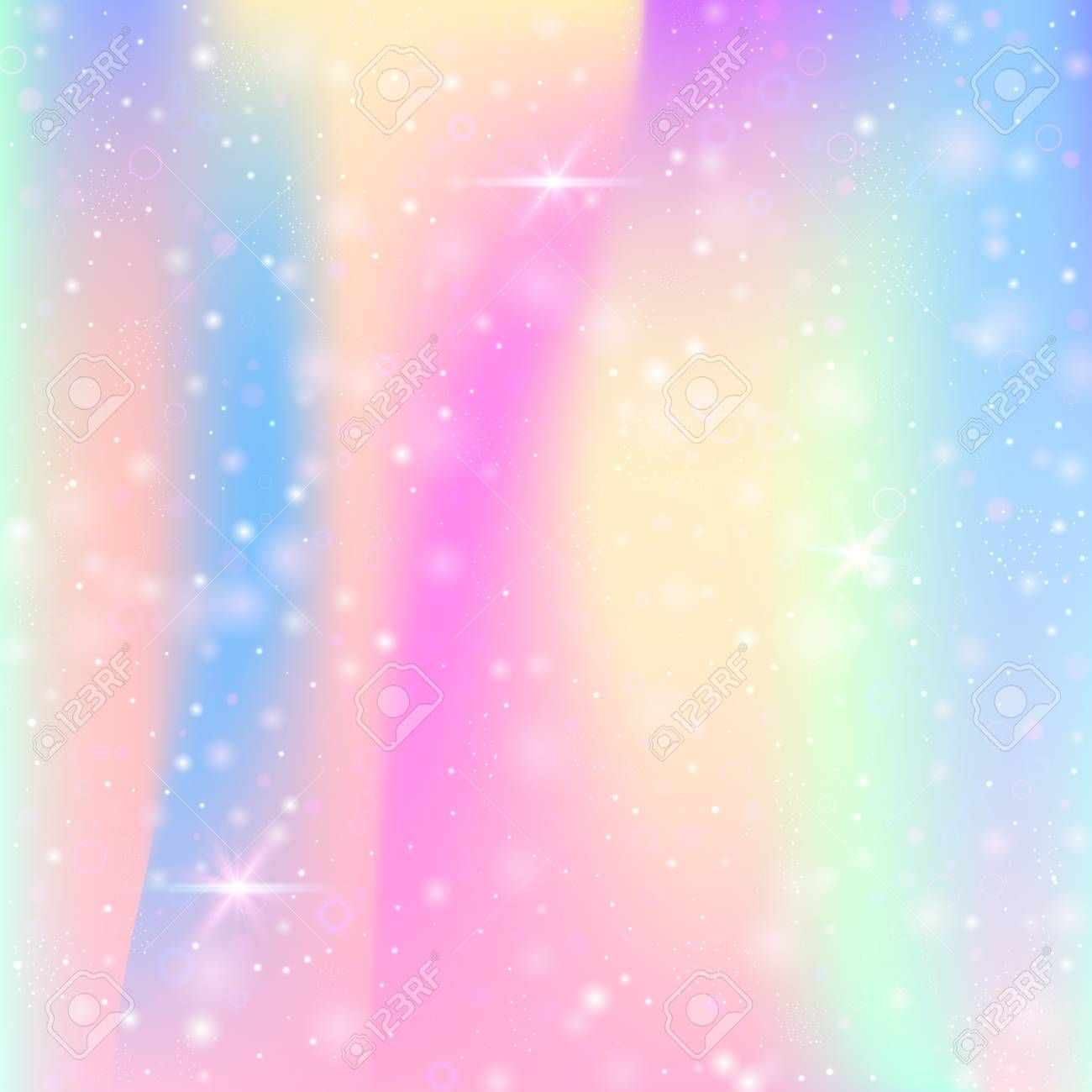 Unicorn background with rainbow mesh Mystical universe banner in princess colors Fantasy gradient backdrop with hologram Holographic unicorn background with magic sparkle...