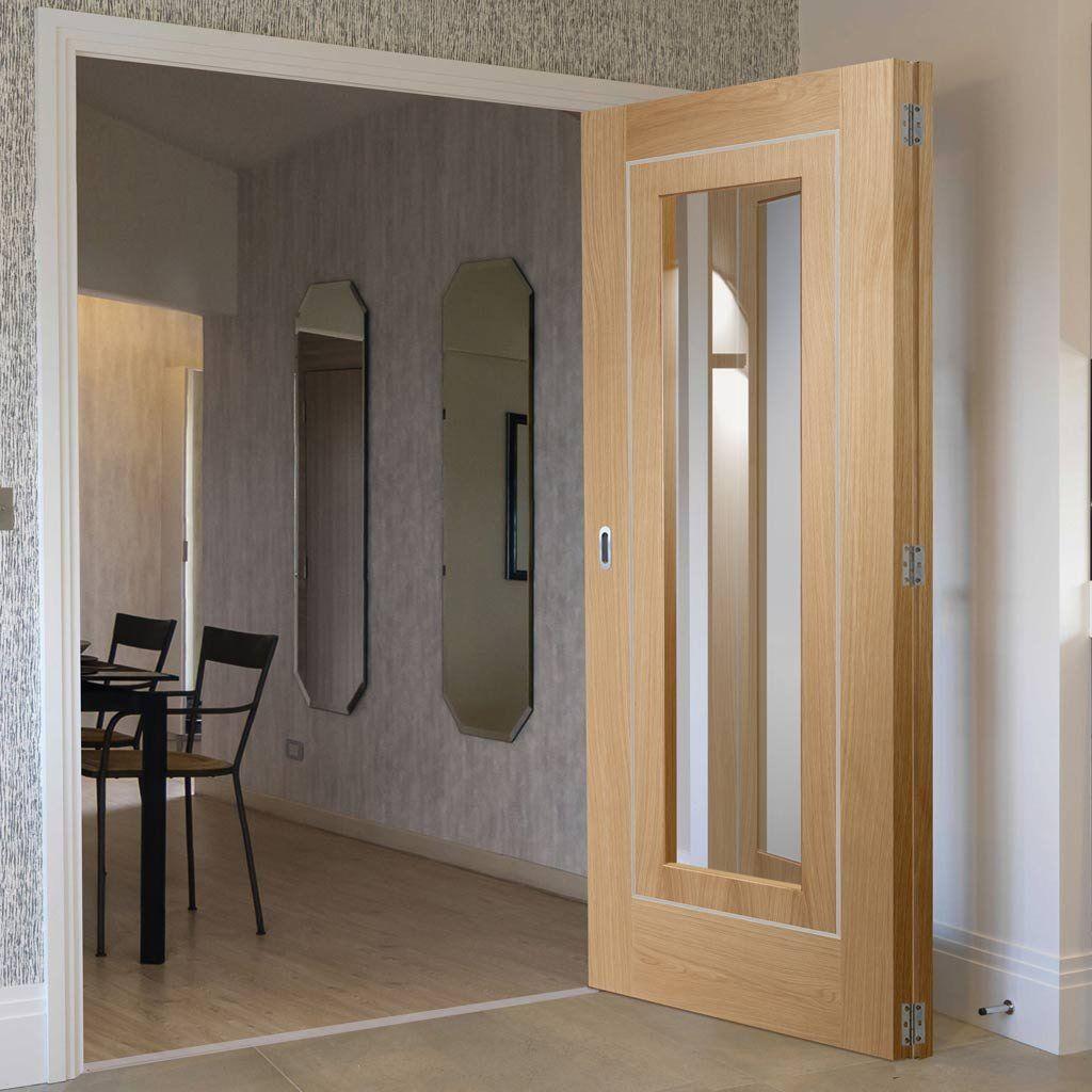 Bespoke Thrufold Varese Oak Glazed Folding 2 0 Door Aluminium Inlay Prefinished Folding Doors Primed Doors Internal Folding Doors
