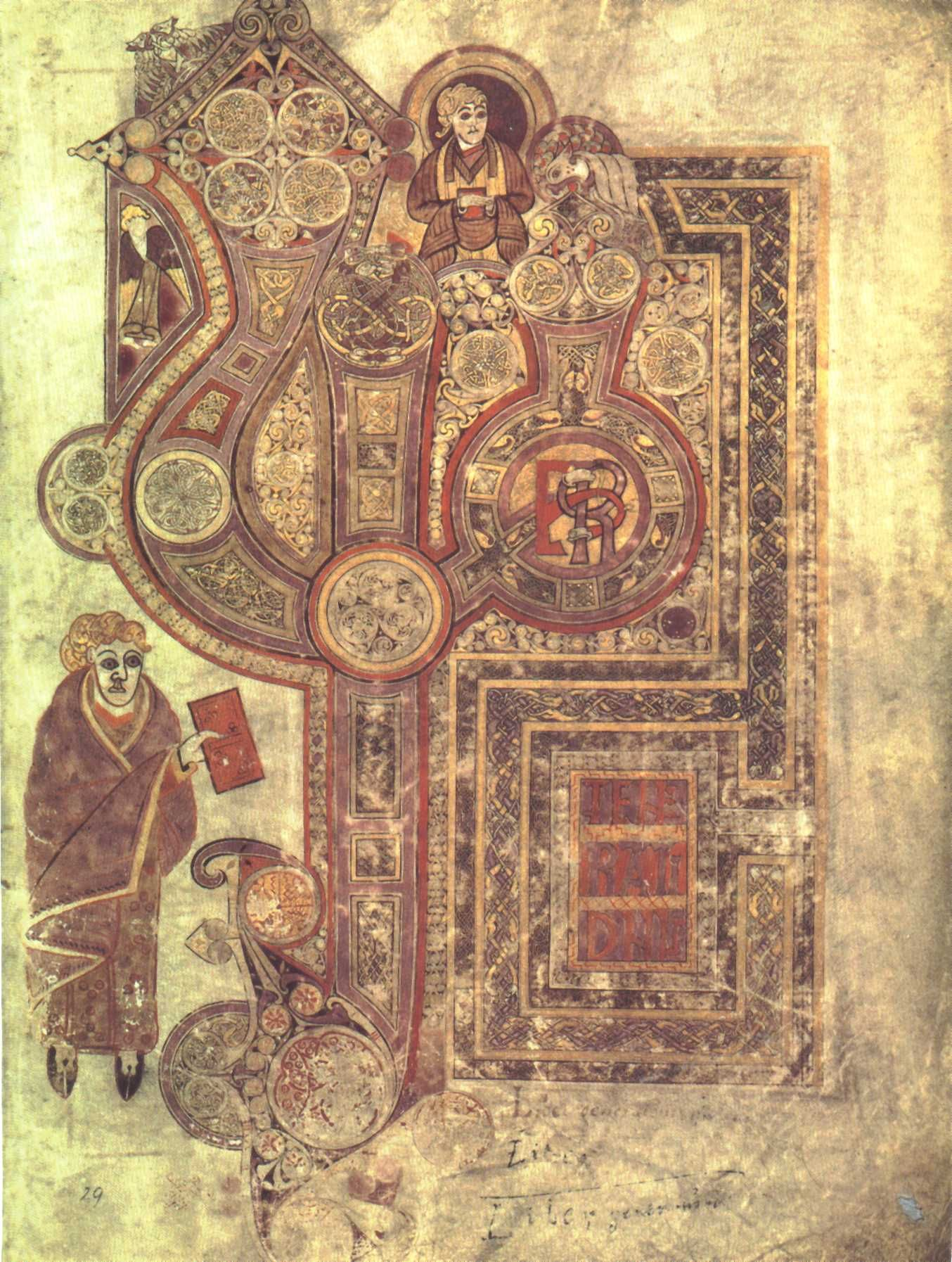 "The Book of Kells, around 800,   c.29r: ""The Beginning of Matthew's Gospel""  Dublin, Ireland, Library of Trinity College"