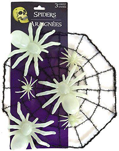 Glow in the Dark Spider Bundle Includes Two Items - One Spider Web - spider web halloween decoration