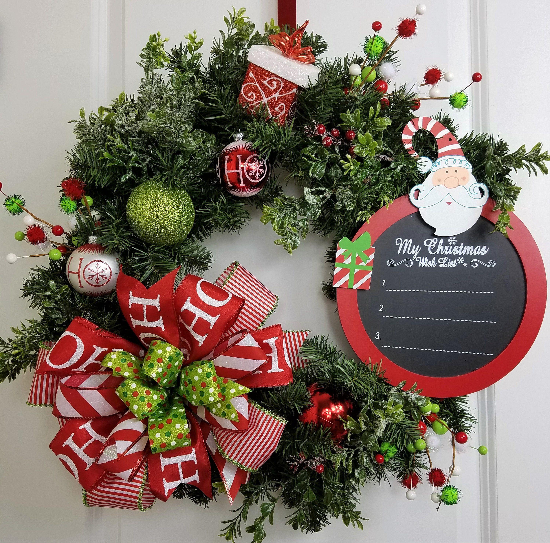 Best Christmas Wreaths, Christmas Door Decoration, Artificial Christmas Wreaths, Santa