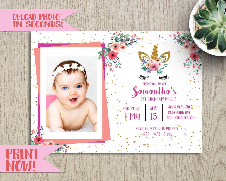 DIY photo upload. Unicorn Baby | Etsy | Printable unicorn invitations,  Unicorn invitations, Invitations