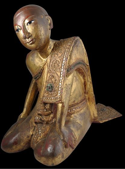 Burmese Carved Image of Sariputta, Gilded Wood, Burma, late 19th century. Find important Asian art for sale on CuratorsEye.com.
