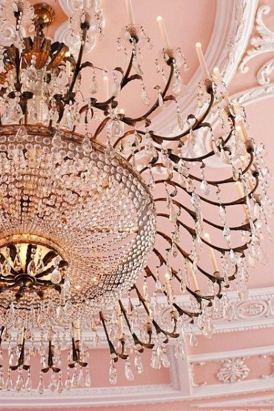 Gorgeous Blush Ceiling And Chandelier
