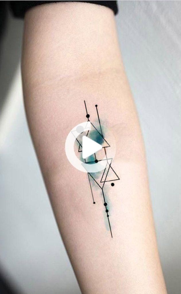 Geometric Triangle Watercolor Blue Linework Outline Forearm Tattoo Ideas for Women - www.MyBodiArt.com