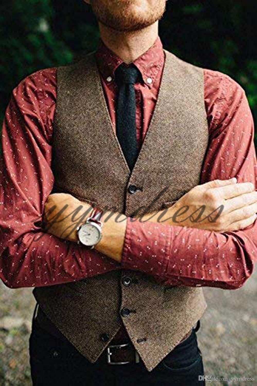 Brown Tweed Vests 2019 Wool Herringbone Slim Fit British Style Custom Made Mens Suit Vest Tailor Blazer Wedding Waistcoat For Men Formal Vest Men Formal Vests A Wedding Suits Men Mens