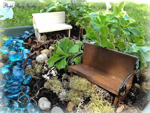 Fairy Garden MIniature Bench, Fairy Garden, Miniature Fairy Garden ...