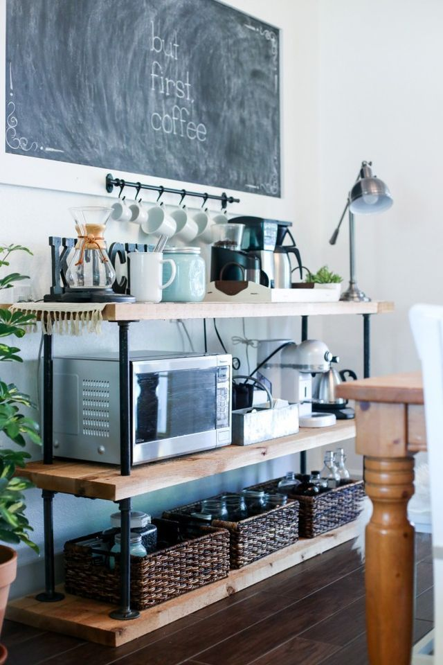 DIY Black Pipe Coffee Bar Station