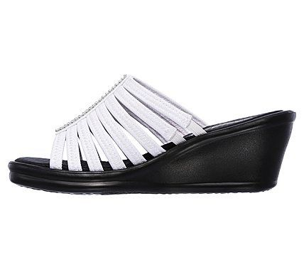 87cf83a92f0a Skechers Women s Rumblers Hotshot Memory Foam Wedge Sandals (White White)