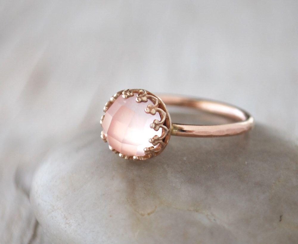 Rose Gold Rose Quartz Ring in 14k Rose Gold-Filled - Rose Quartz Stacking Ring - Handcrafted Artisan Pink Gold Ring by PrairieCoastArt on Etsy https://www.etsy.com/listing/269385466/rose-gold-rose-quartz-ring-in-14k-rose