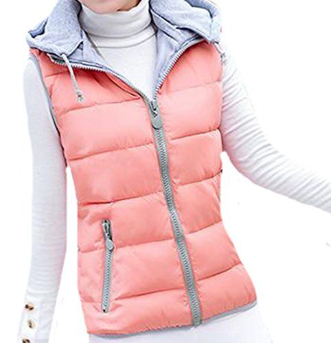YUNY Womens Casual Winter Down Slim Zip Outer Hooded Vest Pink XX-Large