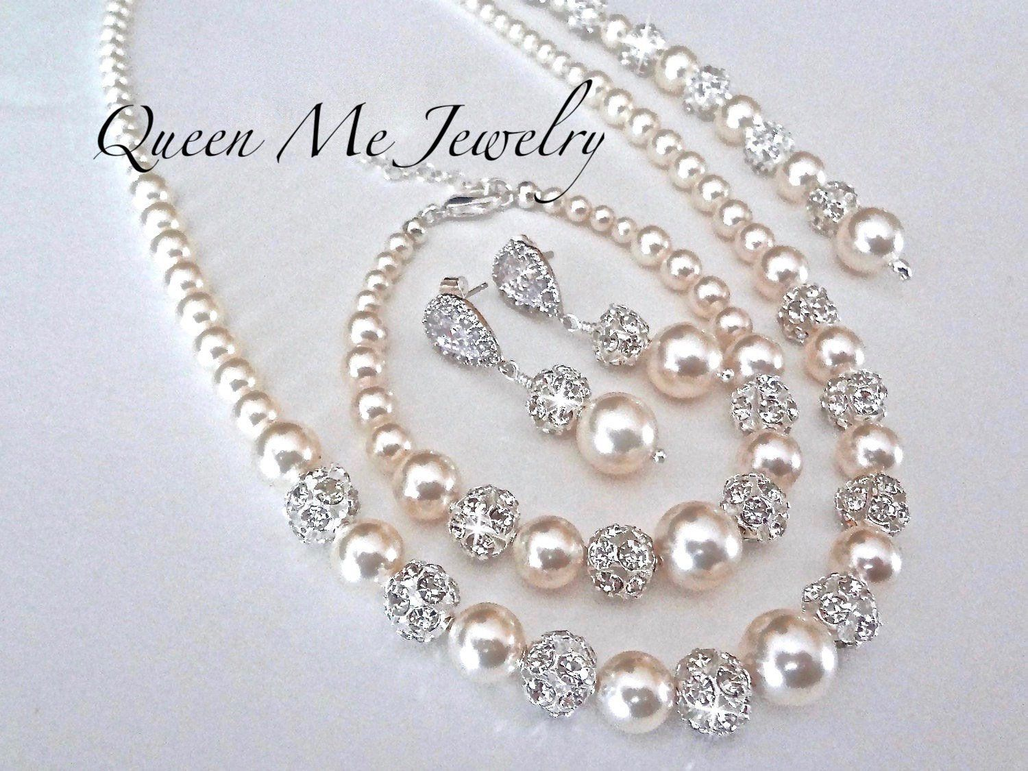 Strand Pearl Necklace Bridal Pearl Studs,Pearl Bridal Jewelry Set N202 Pearl Bridal Necklace and Earrings Set Pearl Choker Necklace