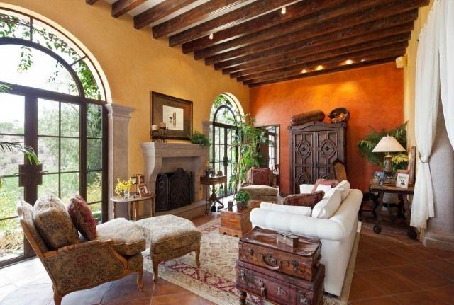 rustikales wohnzimmer im mittelmeer-stil-wandanstrich nicht - wandgestaltung wohnzimmer rustikal