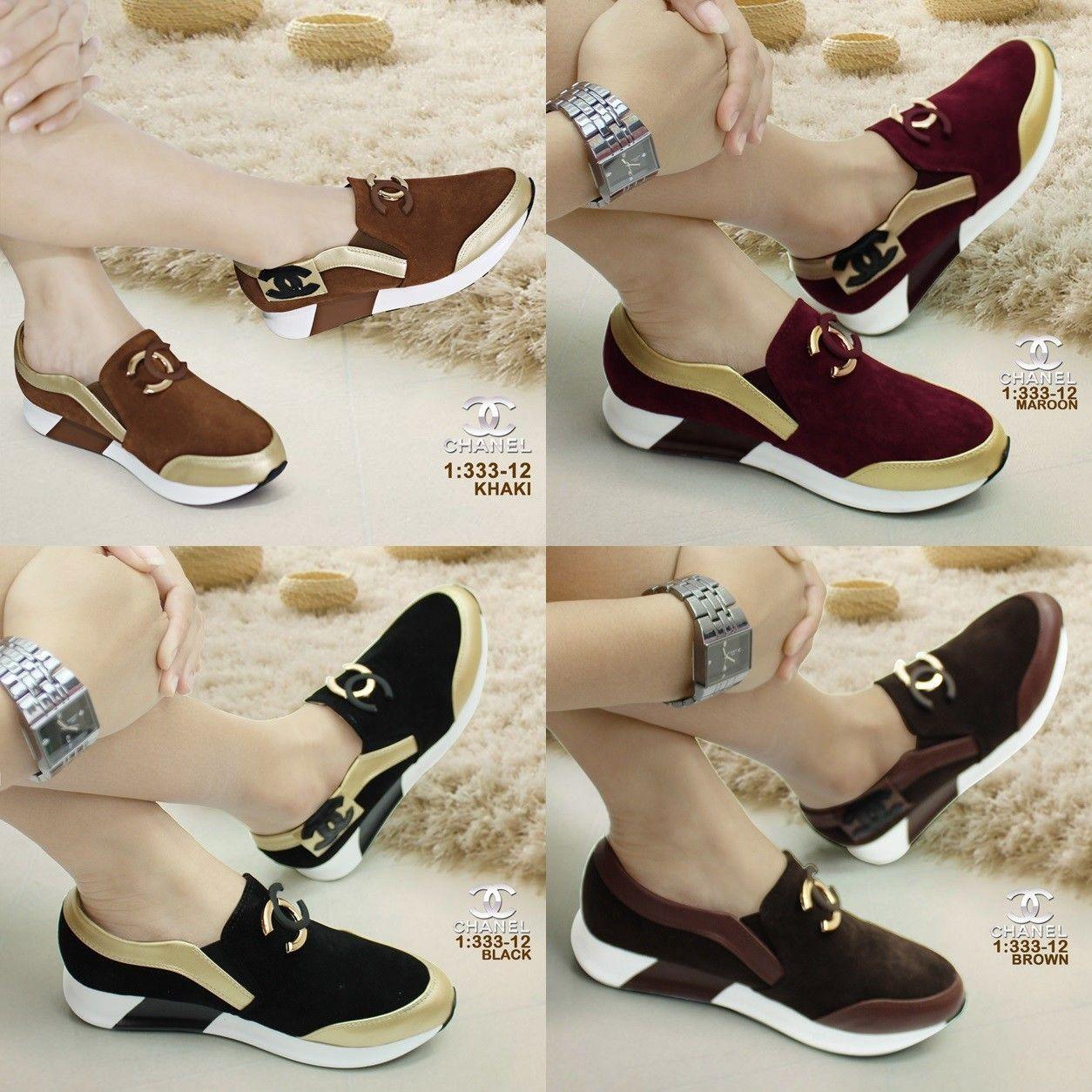 Sepatu Merk Chanel Seri 333 12 Kualitas Semprem Bahan Suede
