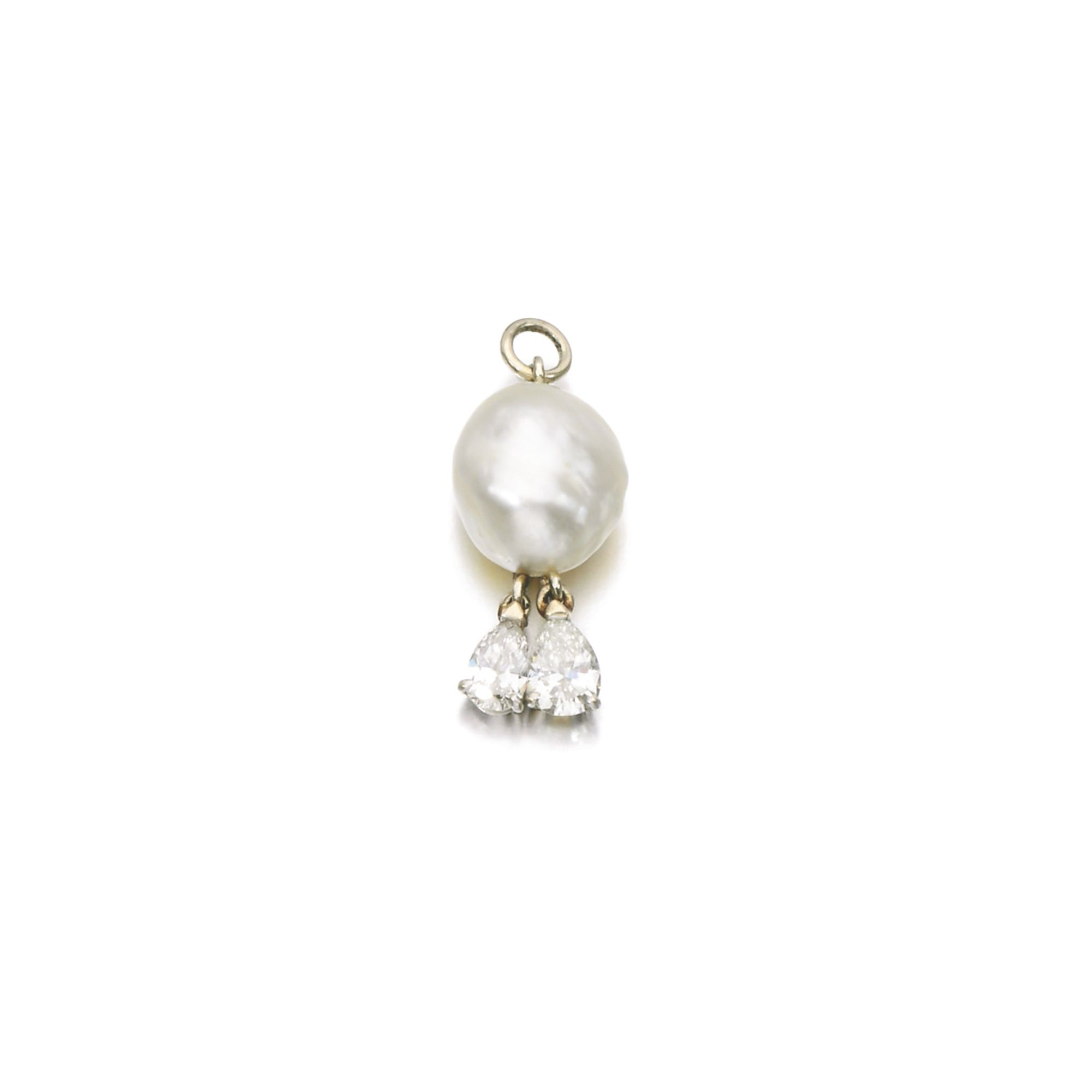 Property from a noble family natural pearl and diamond pendant set