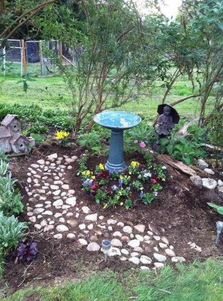 New landscaping with rocks bird baths 37+ ideas # ... on Birds Backyard Landscapes  id=39126