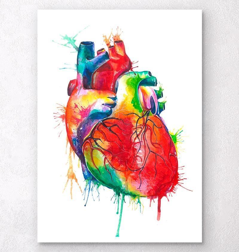 Heart Art Anatomy Watercolor Art Print Lovewins Wedding Gift Medical Art Office
