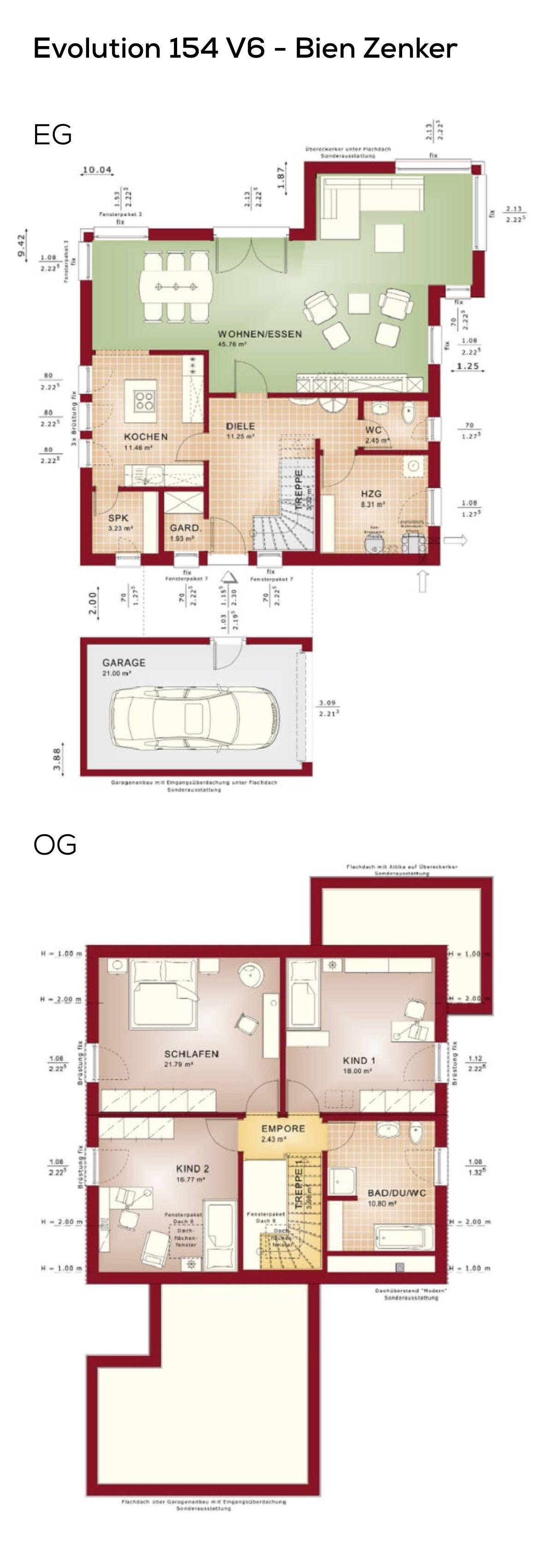 Grundriss Einfamilienhaus mit Garage & Satteldach