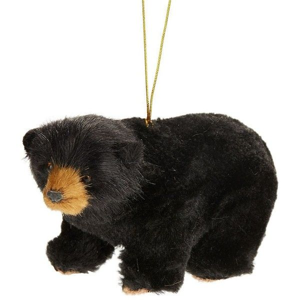 glucksteinhome faux fur bear ornament 14 liked on polyvore featuring home home decor holiday decorations black black bear christmas ornaments - Black Bear Christmas Decor