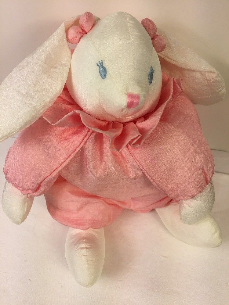 b70887aa3e8 Applause Pink Bunny Rabbit Nylon Puffy Plump Stuffed Animal 13