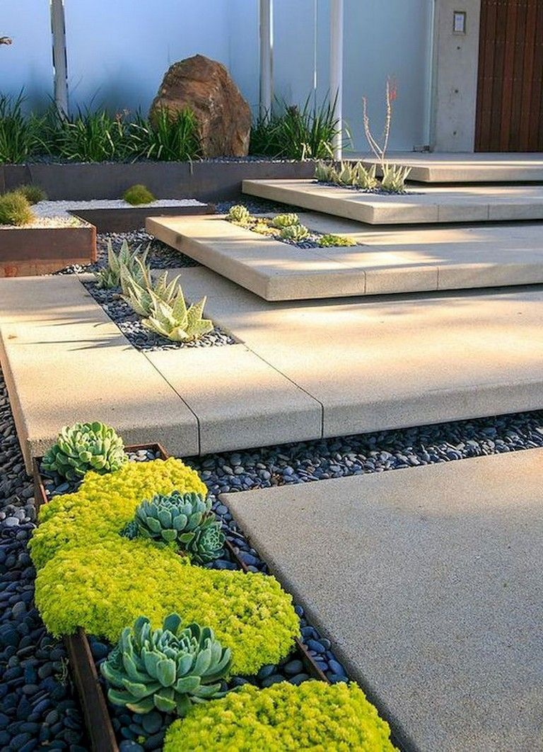 63 Lovely Modern Front Yard Landscaping Ideas