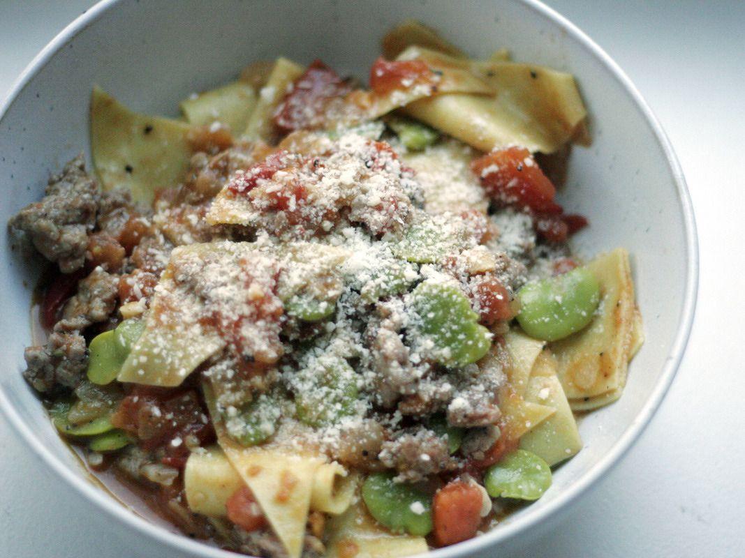Gojee - Maltagliati with Favas, Tomatoes, and Sausage by Herbie Likes Spaghetti