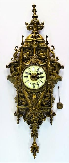 19TH C. AD MOUGIN FRENCH GILT BRONZE WALL CLOCK