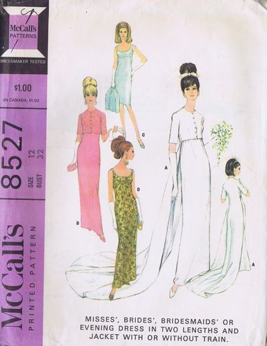 VINTAGE WEDDING DRESS 60s SEWING PATTERN MCCALL 8527 SZ 11 BUST 31 ...