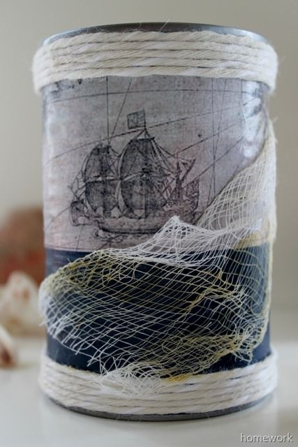 Upcycle tin cans by creating a Weathered Nautical Cans using paper, fabric and Antique Mod Podge