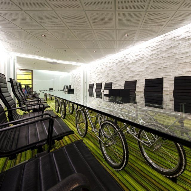 Fun Conference Room Table With Led Strip Lighting Around The Edges Of Biking