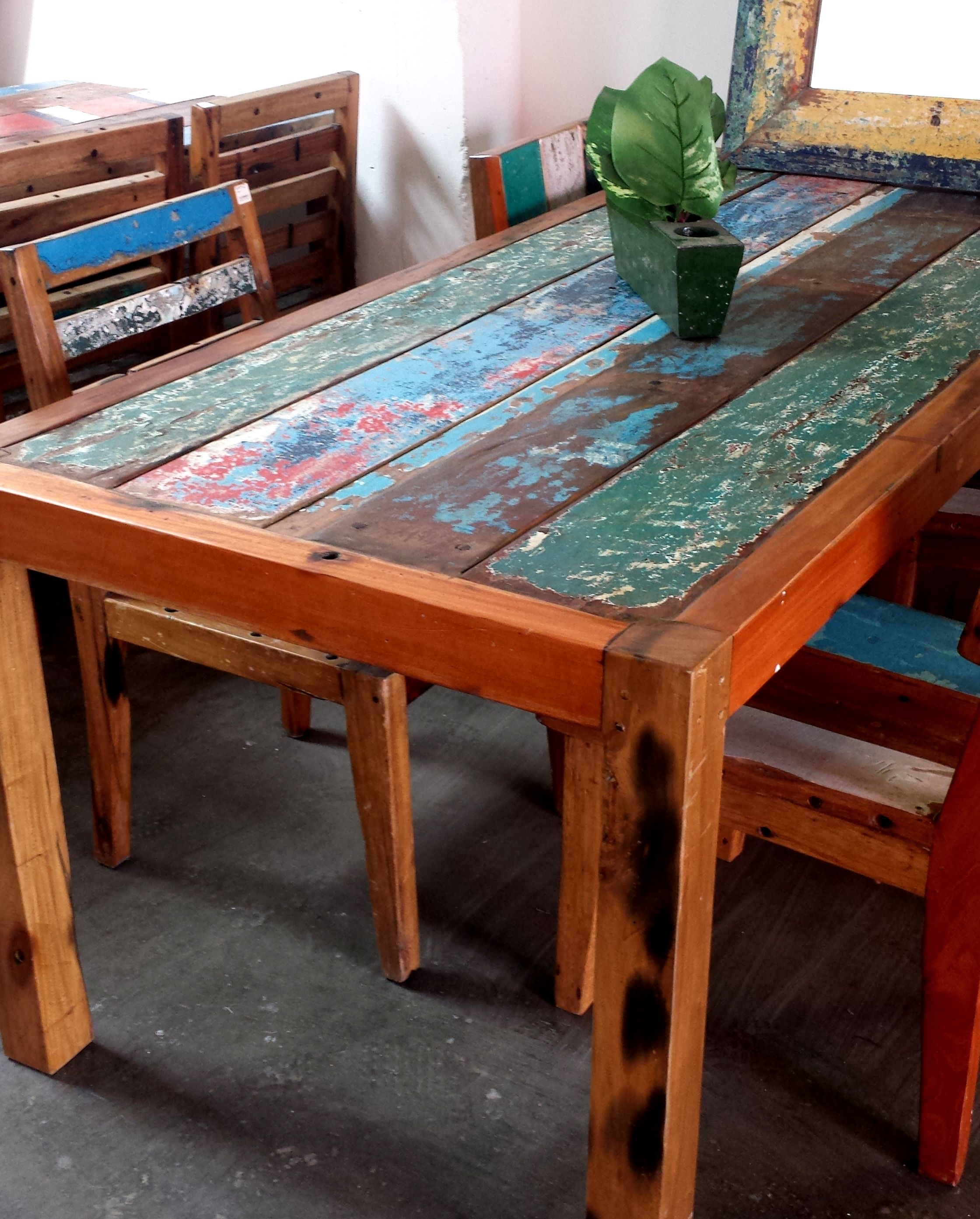 Dining Table Made From Salvaged Teak Fishing Boat Table