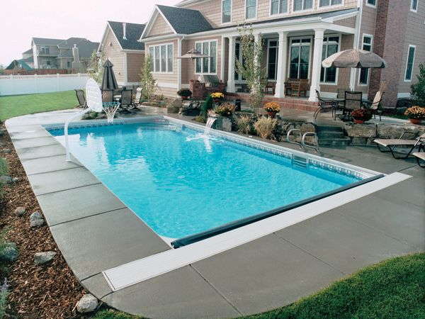 Rectangle pool with a built in pool cover backyard for Pool design regulations