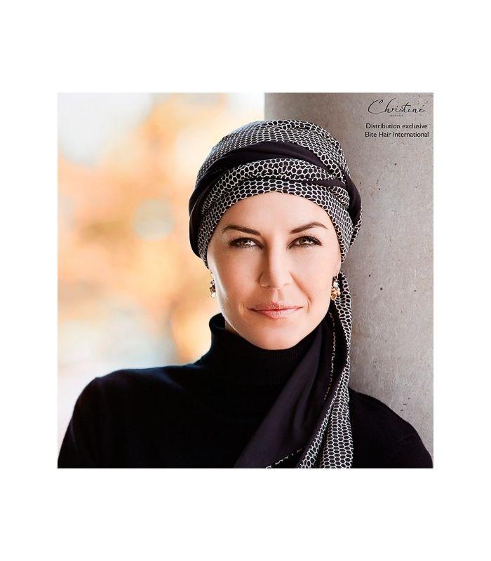 068d1750a5d2 67,9 € -Turban chimio long noir en bambou très doux, turban cancer parfait  pour les femmes en traitement chimiothérapie. Spécial chute de cheveux,  pelade.