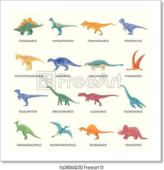 free art print of dinosaurs colored isolated icons set classroom decor dinosaur illustration. Black Bedroom Furniture Sets. Home Design Ideas