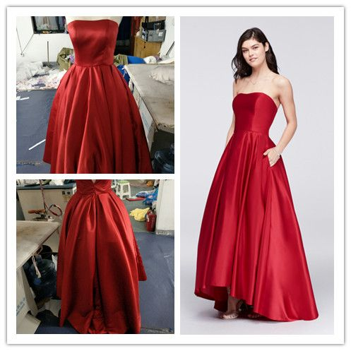 bfa7b19e443 A18224 Style Betsy   Adam Fashion High-Low A-line Satin Ball Gown for Prom