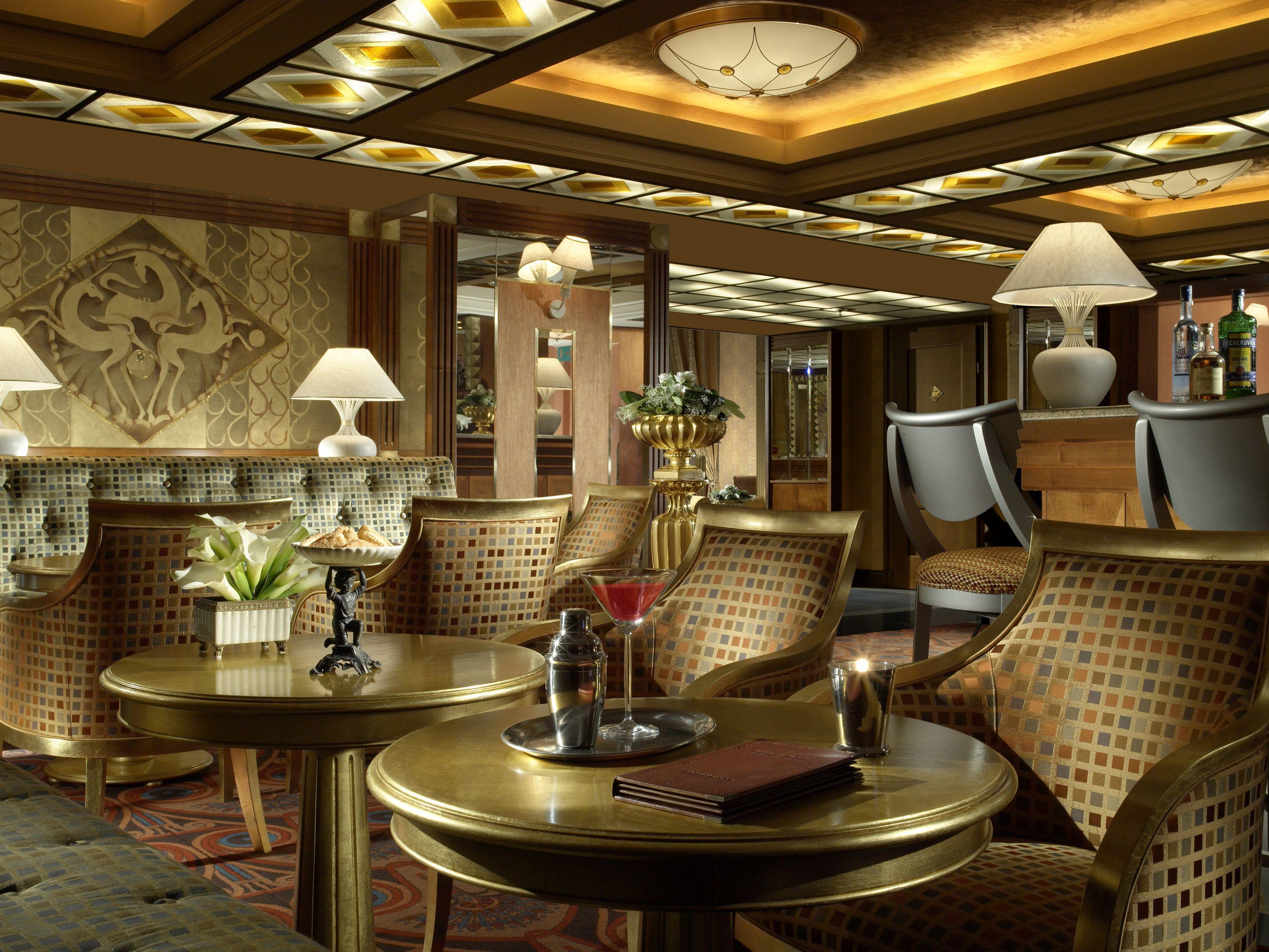 Modern Hotel Interior Design With Golden Furniture. Feel