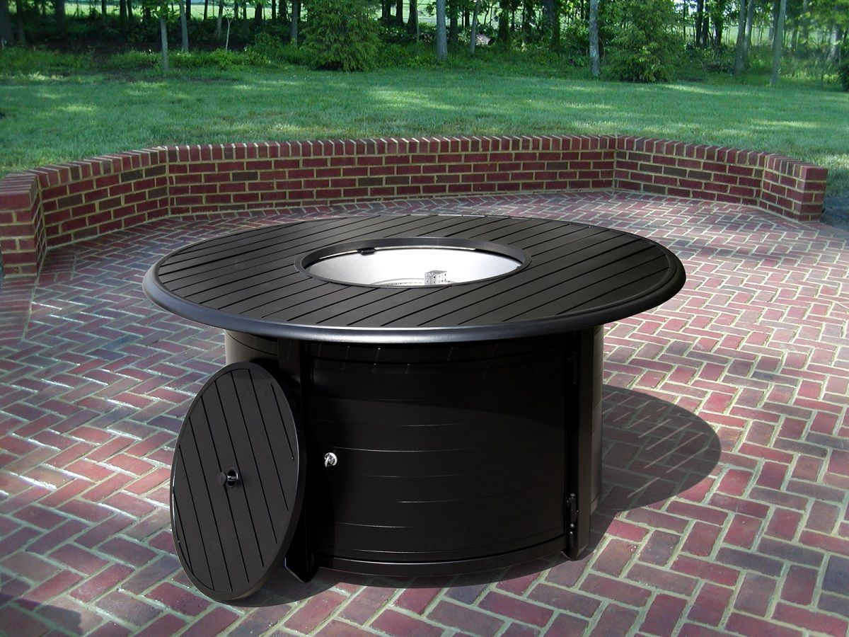 TFPS Round Slatted Aluminum Fire Pit Table TFPSFFPT Fire - Large propane fire pit table
