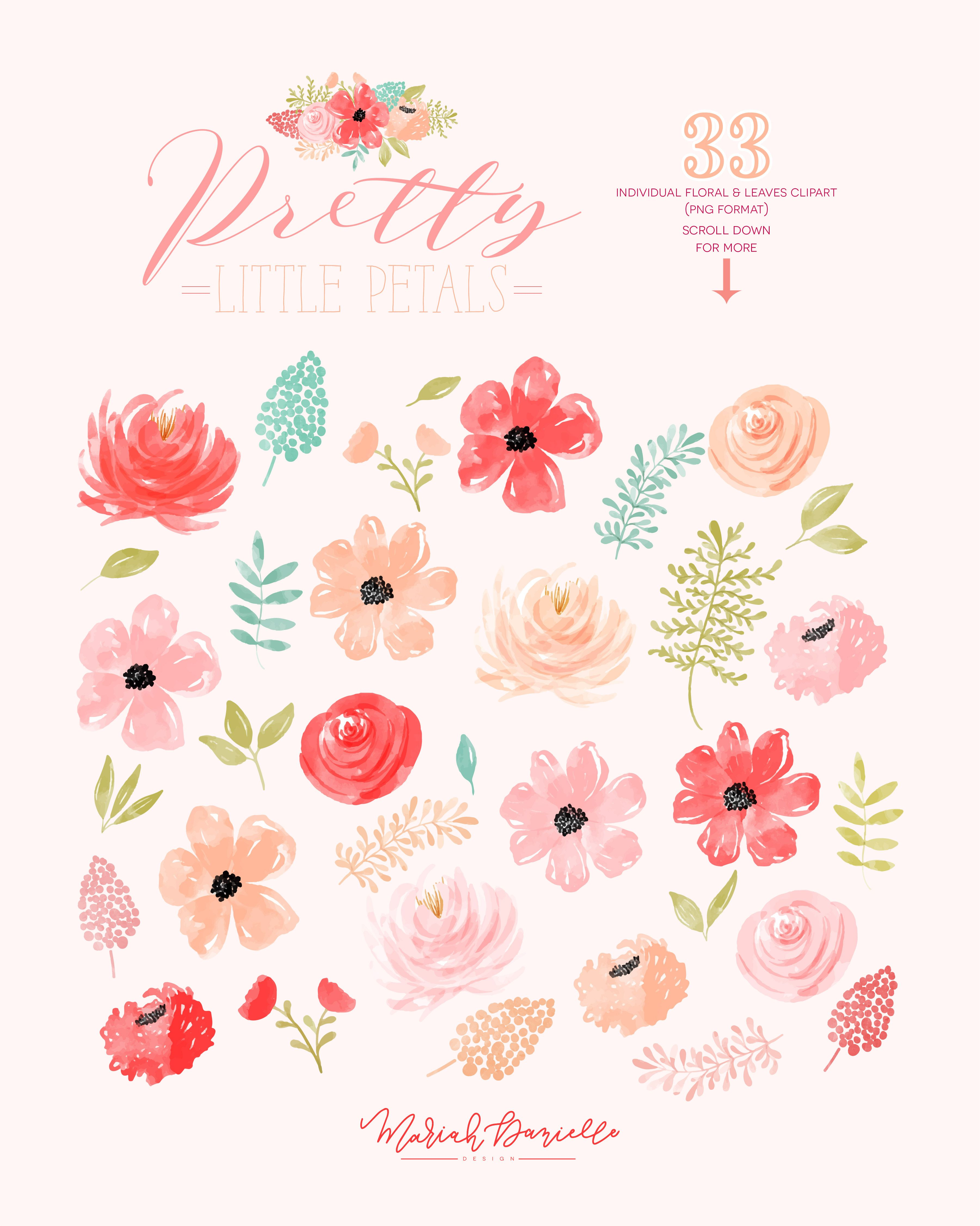 Floral Watercolor Clipart Flower Clipart Flower Bouquet Clip Art