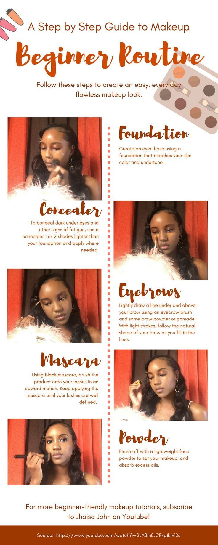 Easy step by step makeup tutorial for beginners / black women. Basic every day m... -