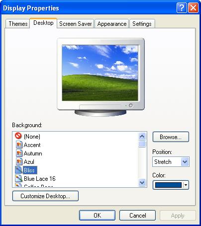 Appearance in Windows XP Pro (Display Properties)